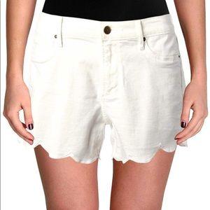 Aqua Scalloped Hem Five Pocket Shorts